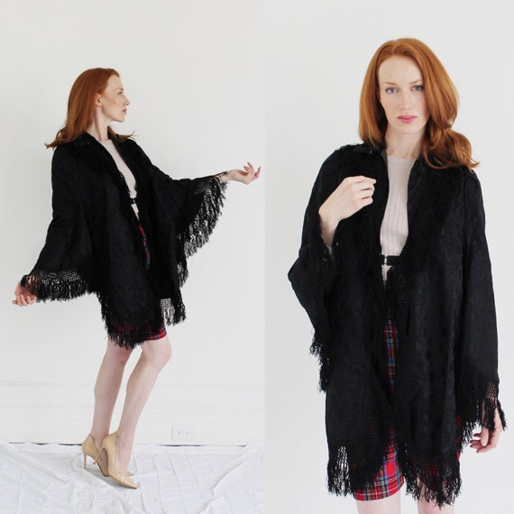 Victorian Black Mourning Cape- Edwardian Shawl, An