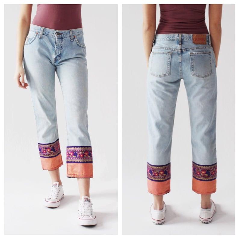 aa8fd61371d4e 90s Cropped Jeans- 30, GUESS, Boho Hippie, Silk Cuff