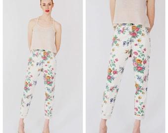 90s High Waist Floral Jeans- 28, White Denim