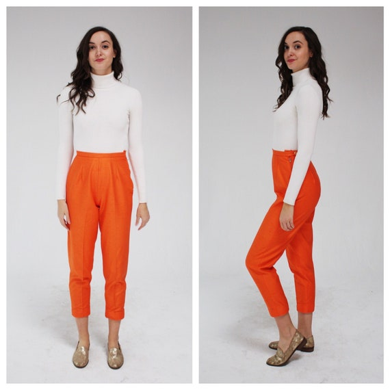 1950s Orange High Waist Pants- 26, Crop, Cigarette