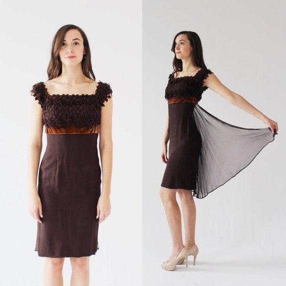 1950s Brown Velvet Floral Dress- Xs, Vintage Roman