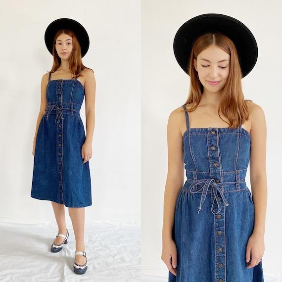 70s Denim Dress- S, Vintage Jean Overall Hippie Dr