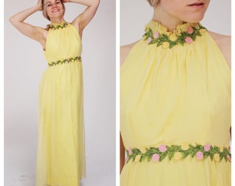 Vintage Pastel Yellow Floral Gown M Retro Bridesmaid Prom Gauzy Dress