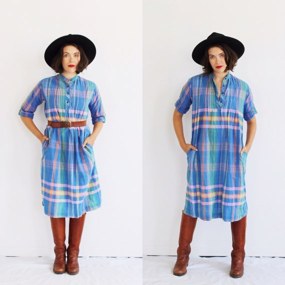 Pastel Plaid Indian Cotton Dress- L, Periwinkle, M