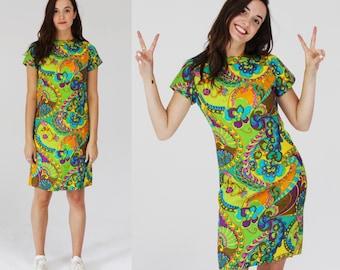 Psychedelic Neon Shift Dress- S, T-shirt Dress, 60s 70s Swirl 6C