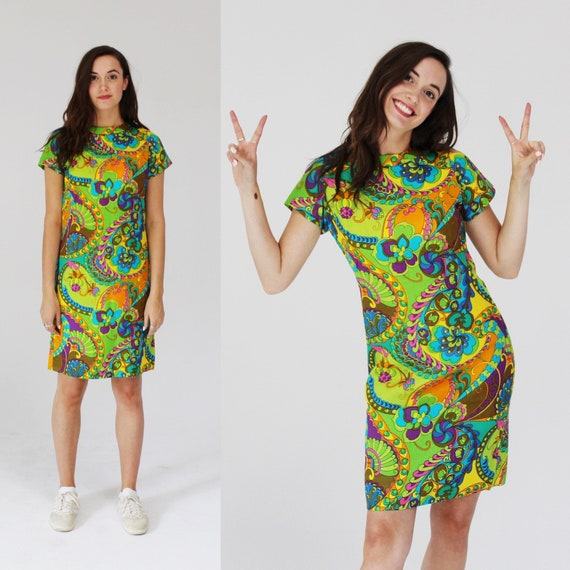 Psychedelic Neon Shift Dress- S, T-shirt Dress, 60