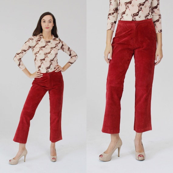 90s Red Suede Pants- Leather, La Redoute,