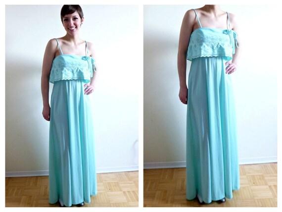 Blue Peasant Mint Green Maxi Dress- Small, Bridesm