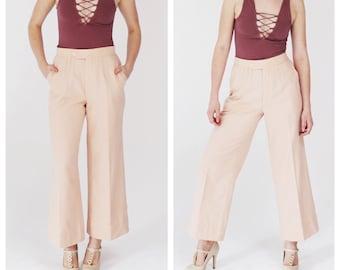 70s Pink Cropped Pants- Widelegs, 28