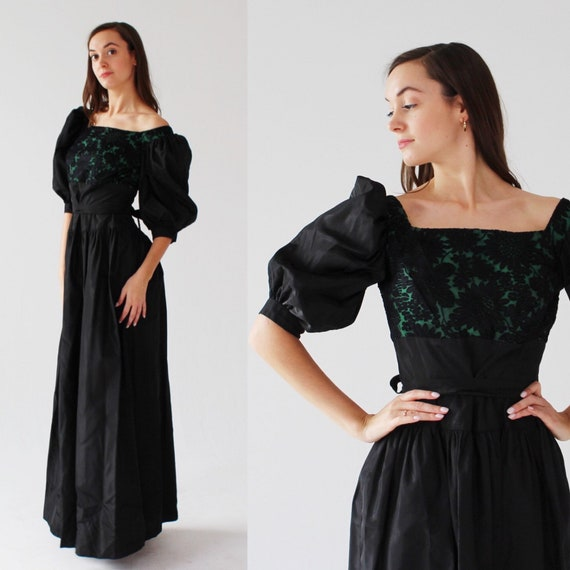 1950s Green & Black Garden Gown- XS, Puffy Sleeve,