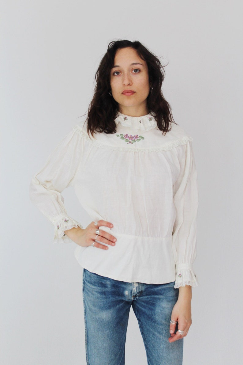 M High Collar White Linen Embroidered Blouse Victorian style