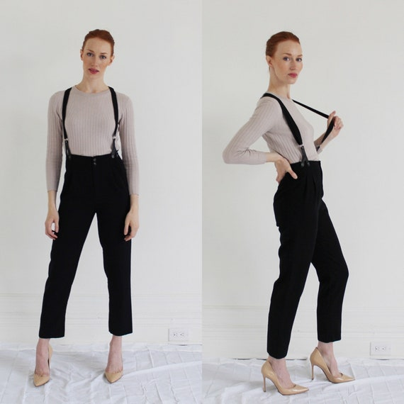 90s High Waist Suspender Pants- S, Black Tapered H