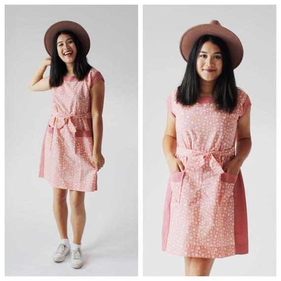 Pastel Pink Polka Dot Dress- Vintage Day Dress, 50