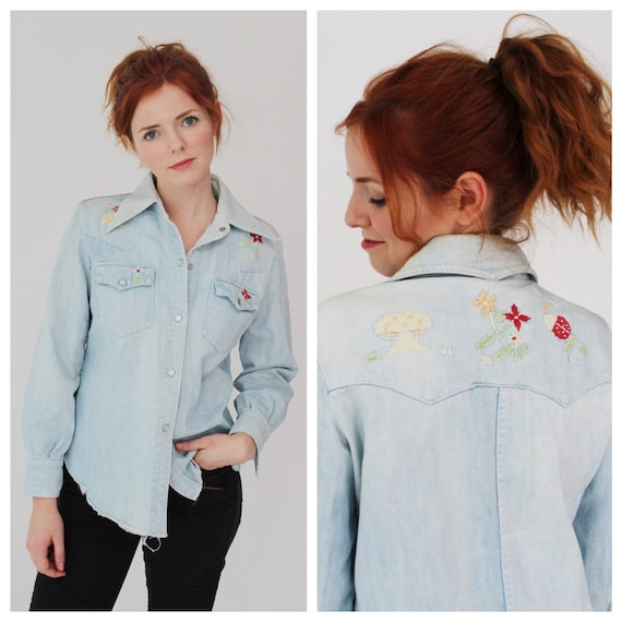 Vintage Embroidered Denim Shirt- M, 70s Boho Casua