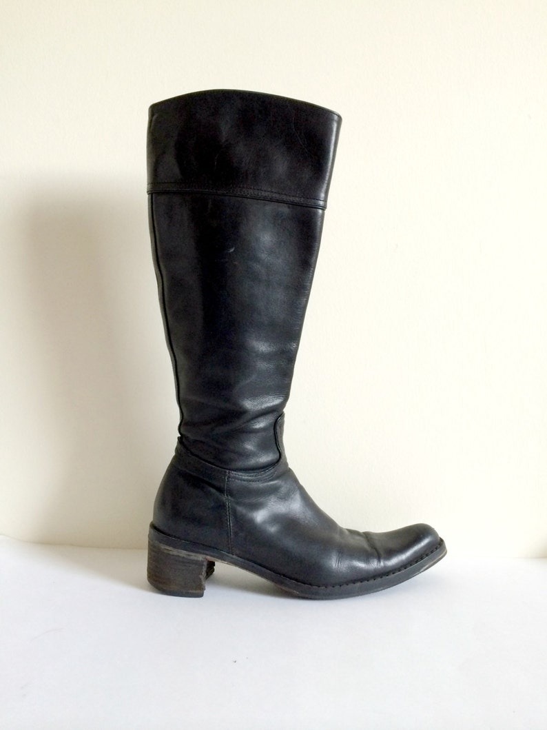 d413a84985c36 COACH Vintage Black Leather Boots- 7.5, Olivia, Knee High, Small Heel