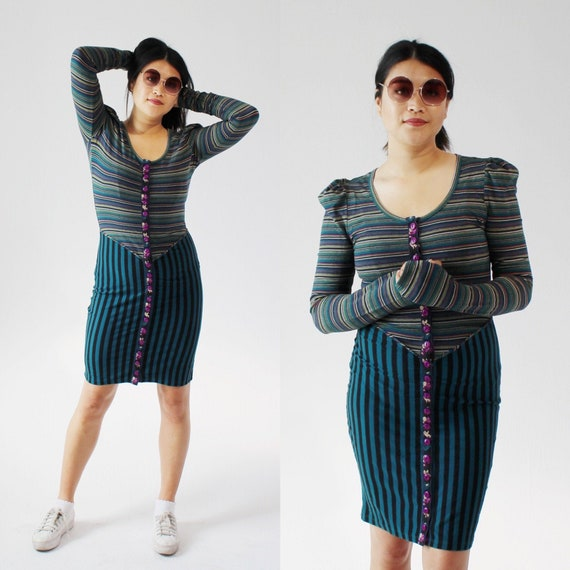 BETSEY JOHNSON Witchy Striped Dress- L, Cap Sleeve