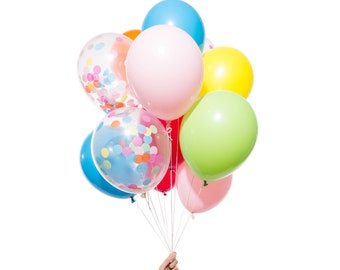 Rainbow Party Balloons | Includes 3 Confetti Balloons | 12 count