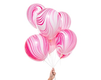 Marble Party Balloons | Pink and White