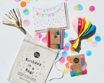Birthday in a Bag | Confetti, Card, Balloons, Candles, and Party Horn
