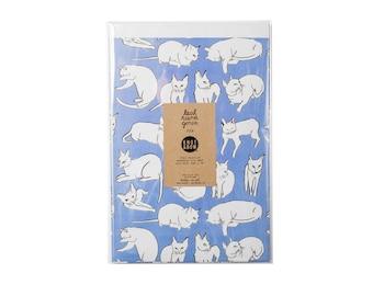 Violet Cats Newsprint Gift Wrap / Knot & Bow x Leah Goren / 3 Sheets