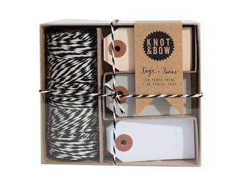 Tag + Twine Box / Black Natural + Neutral