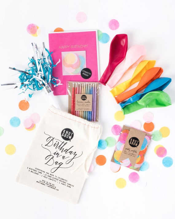 Birthday In A Bag Confetti Card Balloons Candles And Etsy