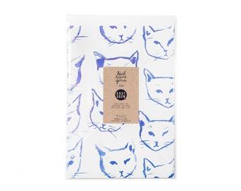 Indigo Cats Newsprint Gift Wrap / Knot & Bow x Leah Goren / 3 Sheets