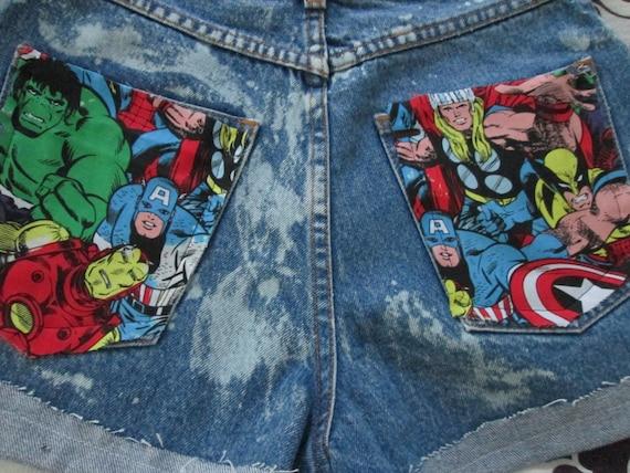 Marvel Comics Acid Wash Highwaisted Shorts