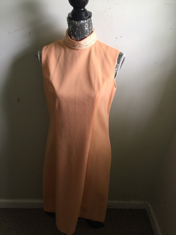 Vintage 60s Mock Neck Peach Dress