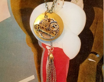 Mother's Day Vintage STEAMPUNK Necklace POCKET WATCH Gears Brass and Silver Key Retro Steampunk pendant with multi-link chain and tassel 32""
