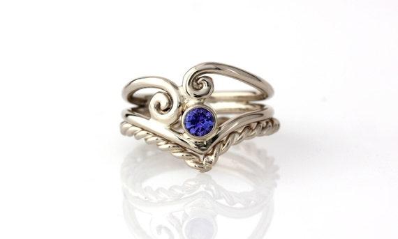 Tanzanite Wedding Engagement Ring Set 14k Palladuim White ...