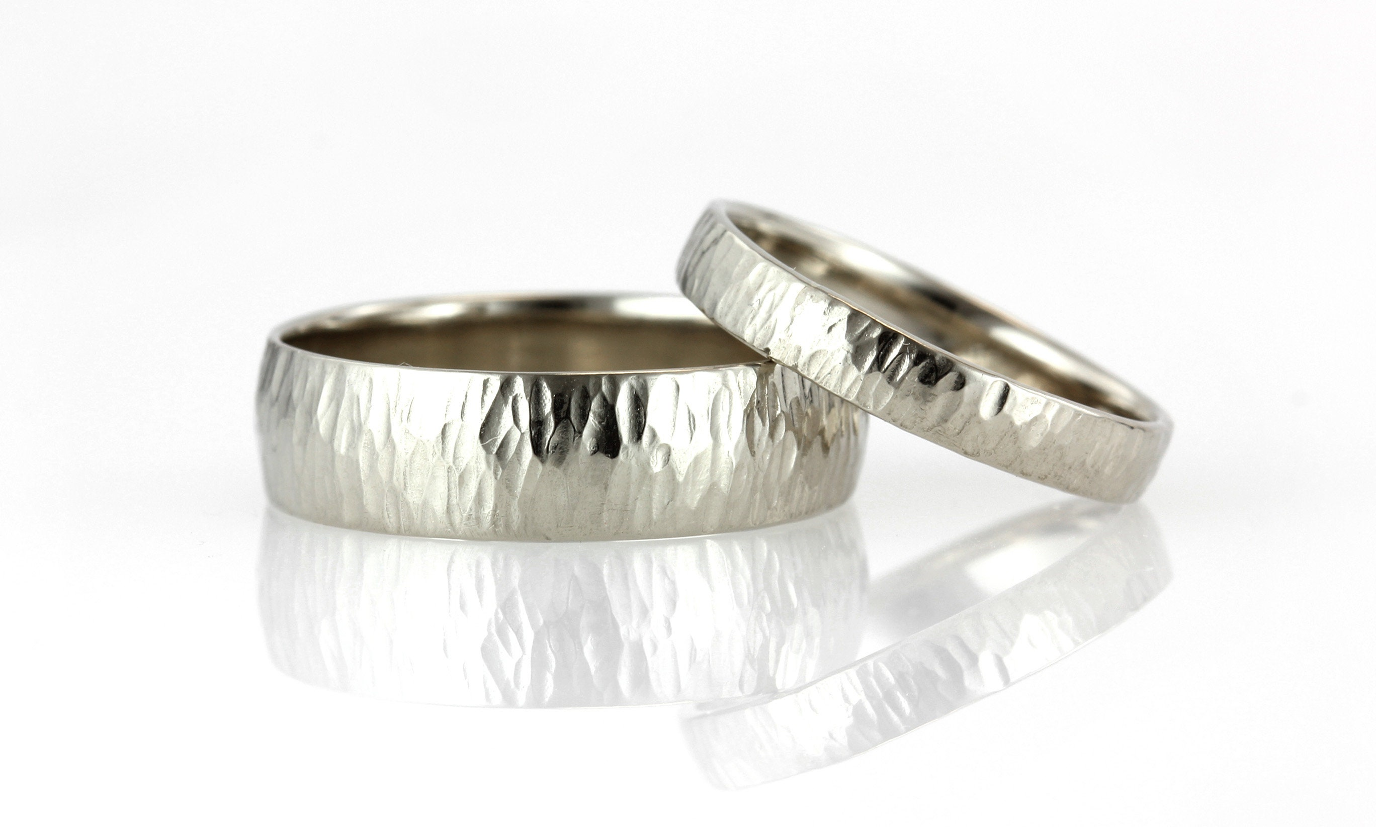 Light Half Round Wedding Band 3MM Mens 18K White Gold