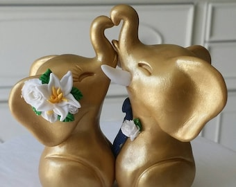 Wedding Cake Topper, Elephants in Love, Gold, Navy and White, Tropical Flowers, Bride and Groom Keepsake