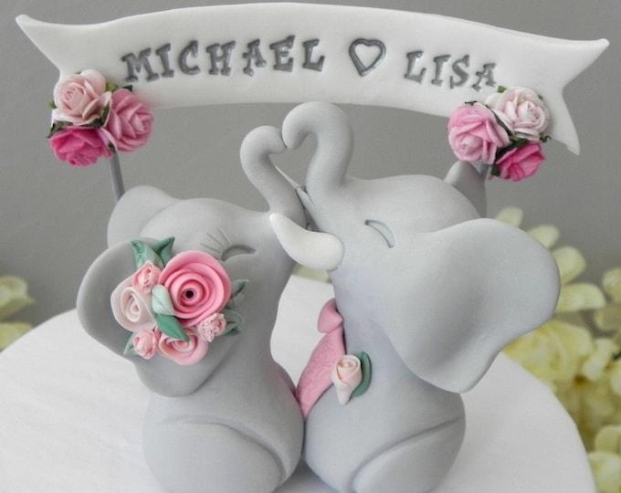 Custom Boho Elephant Wedding Cake Topper With Personalized Banner