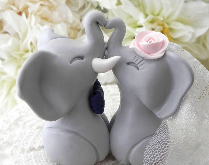 Gray, Navy and Pink Elephants in Love Wedding Cake Topper Custom Personalized Bride and Groom BOHO Keepsake