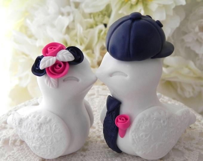 Love Birds Wedding Cake Topper, White, Navy and Fuschia,  Backwards Baseball Cap, Bride and Groom Keepsake, Fully Personalized