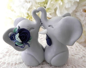 Wedding Cake Topper, Elephants in Love,Gray and Shades of Navy and White, Bride and Groom Keepsake