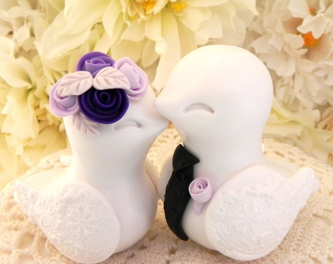 Love Birds Wedding Cake Topper, White, Purple Shades and Black, Bride and Groom Keepsake, Fully Personalized