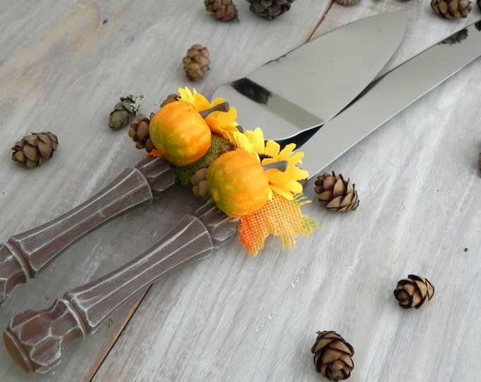 Fall Rustic Wedding Cake Server Knife Set Fall Leaves Pumpkin Mini Pine Cones Sunflower Bridal Shower Gift Wedding Gift