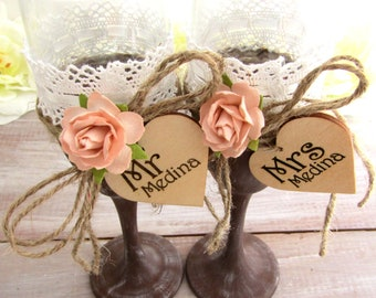 Rustic Chic Wedding Glasses Wood-look with Peach Flowers Personalized Wood Hearts Toasting Flutes Bridal Shower Gift Wedding Gift