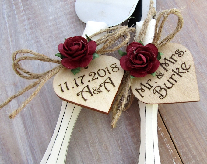 Rustic Chic Wedding Cake Server Knife Set White with Burgundy Flower Personalized Wood Hearts Bridal Shower Gift Wedding Gift
