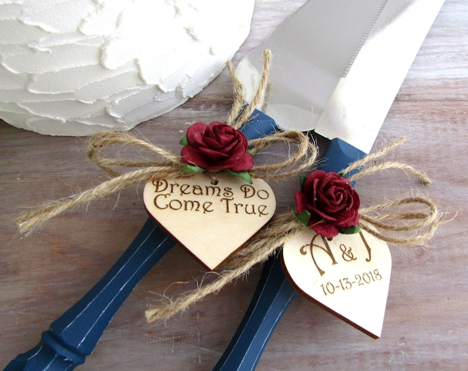 Dreams Do Come True Rustic Wedding Cake Server and Knife Set Navy & Burgundy or Custom Personalized Colors Bridal Shower Wedding Gift