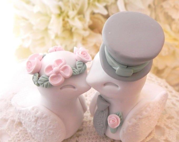 Love Birds Wedding Cake Topper, White, Blush Pink. Sage Green and Grey, Bride and Groom Keepsake, Fully Custom
