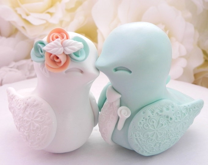 Love Birds Wedding Cake Topper, White, Peach and Mint Green - Bride and Groom Keepsake, Fully Custom