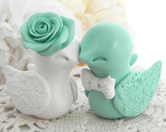 Wedding Cake Topper, Love Birds, Mint Green and White, Bride and Groom Keepsake