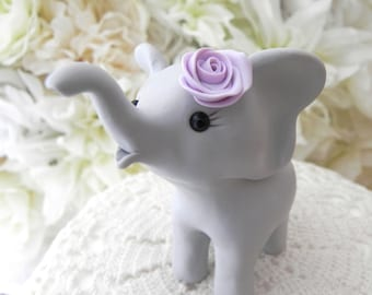 Elephant Baby Shower Cake Topper, Gray and Lilac Baby Girl Elephant, New Mommy Gift, Keepsake, Nursery Decor, You Choose Colors