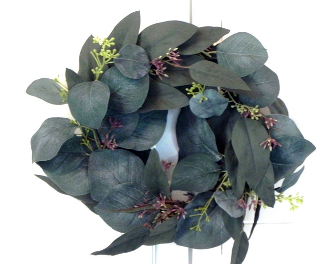 Mini Eucalyptus Wreath Farmhouse Wreath Wall Decor Housewarming Gift Mantle Decor Gift for Her Greenery Decor Wedding Gift Fall Wreath