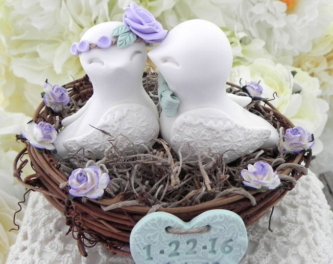 Rustic Love Bird Wedding Cake Topper -Ivory, Lavender and Light Green, Love Birds in Nest - Personalized Heart