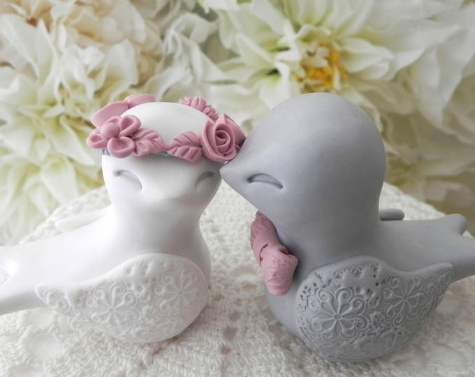 Swallowtail Love Bird Wedding Cake Topper, White, Gray and Mauve, Bride and Groom Keepsake, Fully Custom