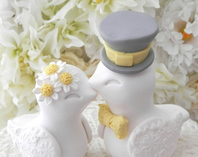Love Birds Wedding Cake Topper, Daisy Flowers, White, Yellow and Gray, Bride and Groom Keepsake, Fully Personalized